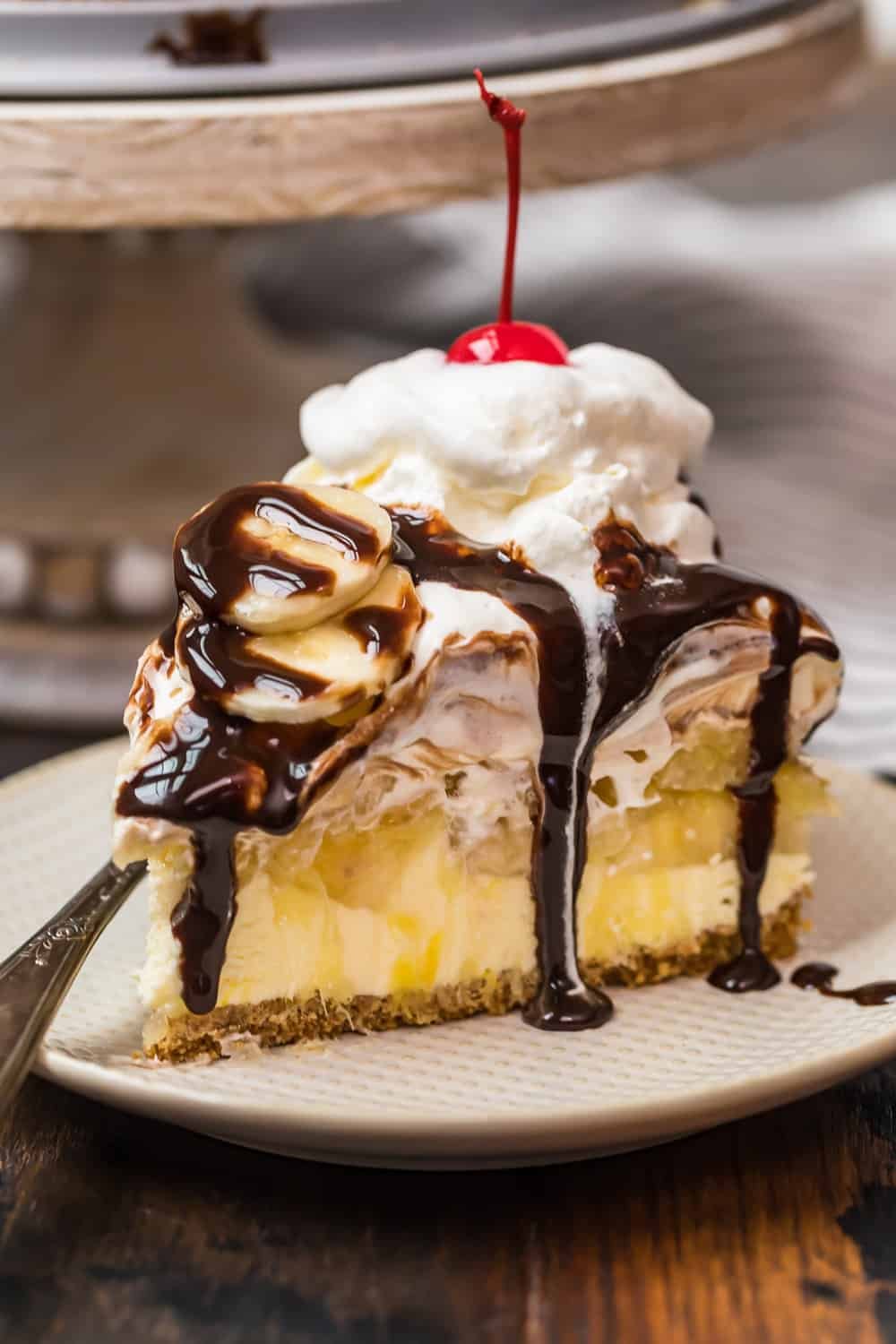 slice of no bake banana split dessert