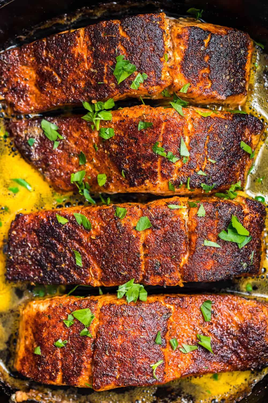 overhead shot of blackened salmon recipe