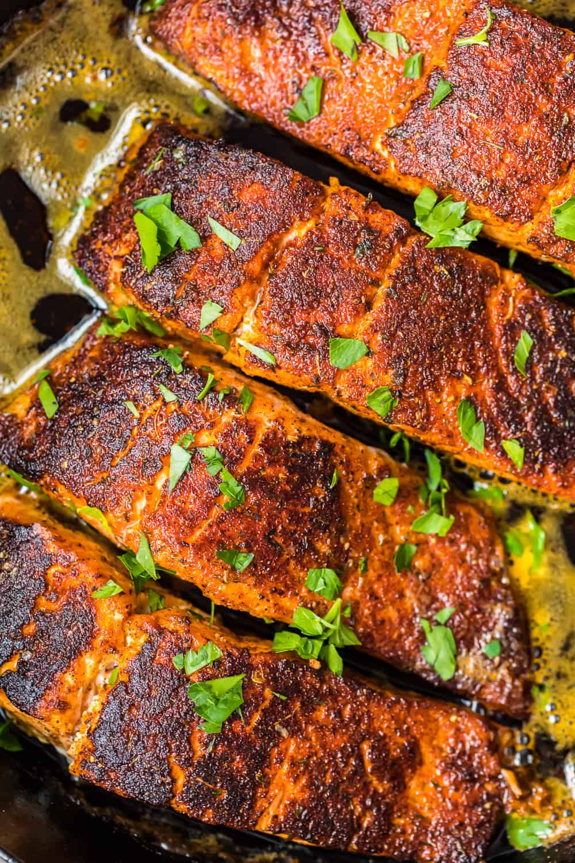 blackened salmon recipe in skillet