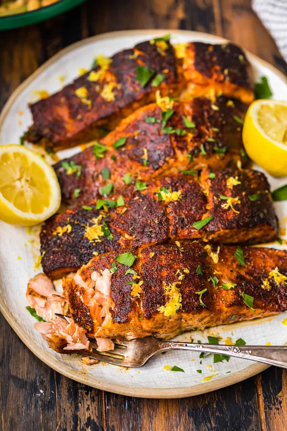 fork and salmon fillet