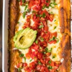 creamy cheesy chicken enchiladas featured image