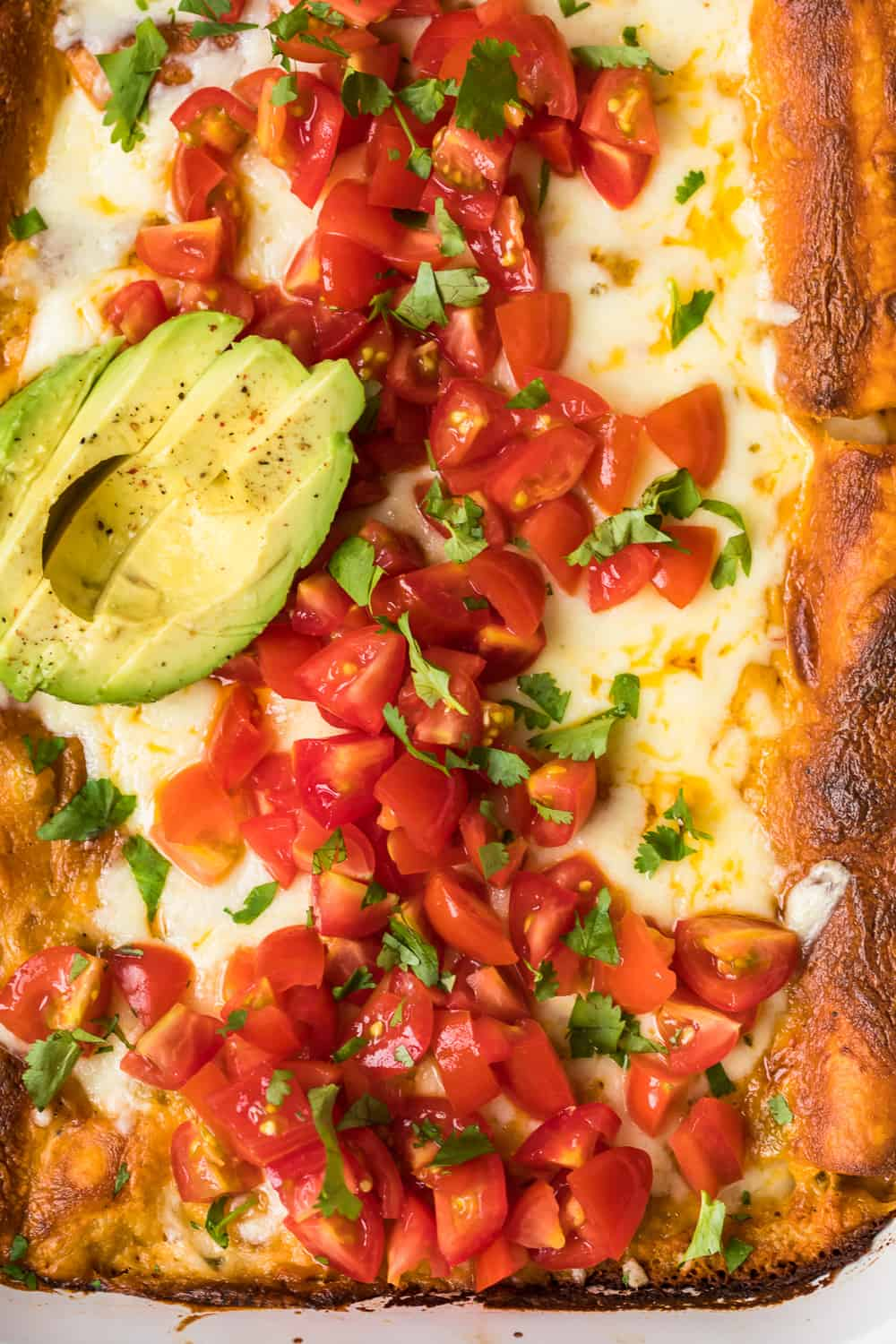 avocado and chopped tomatoes on top of enchiladas