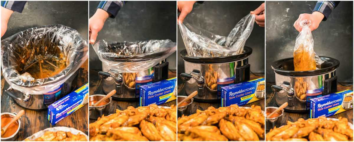 photo collage showing how to take out crockpot liner