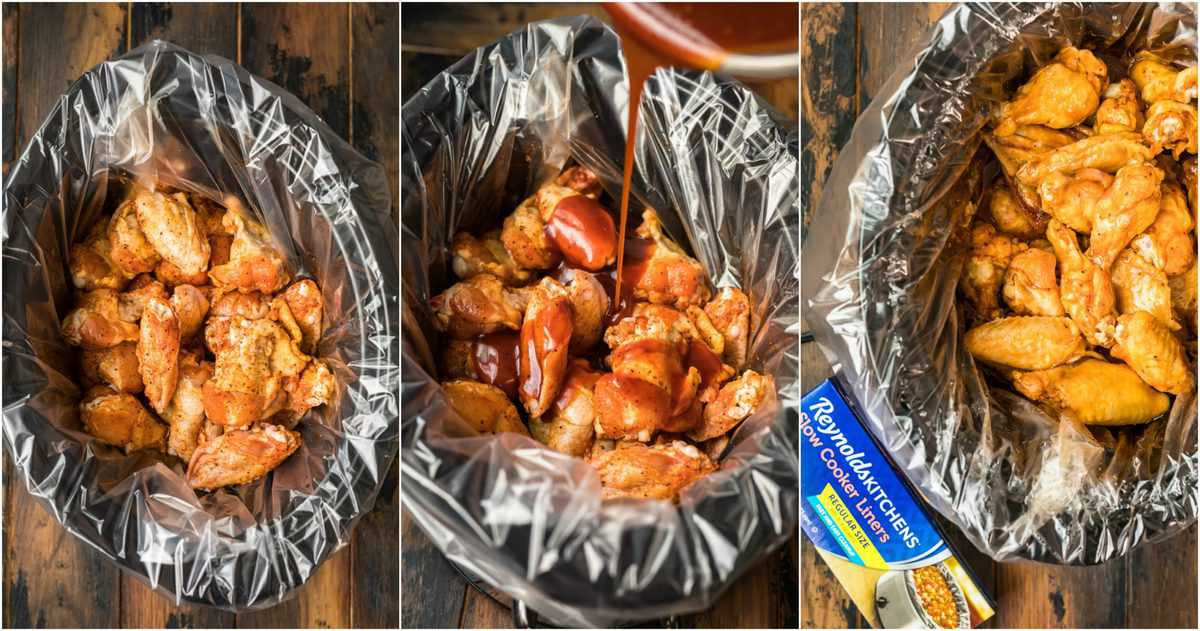 photo collage of using crockpot liners with chicken