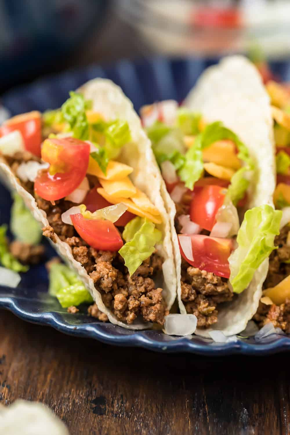 two beef tacos loaded with veggies