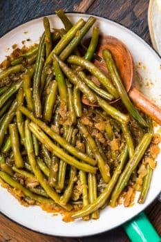 Pennsylvania dutch green beans on a white plate