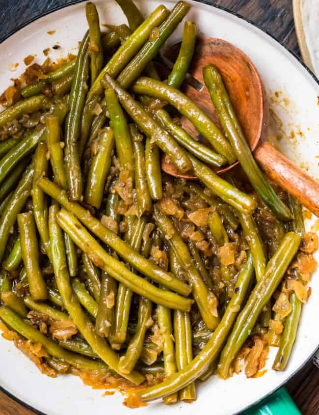 Pennsylvania dutch green beans on a white plate