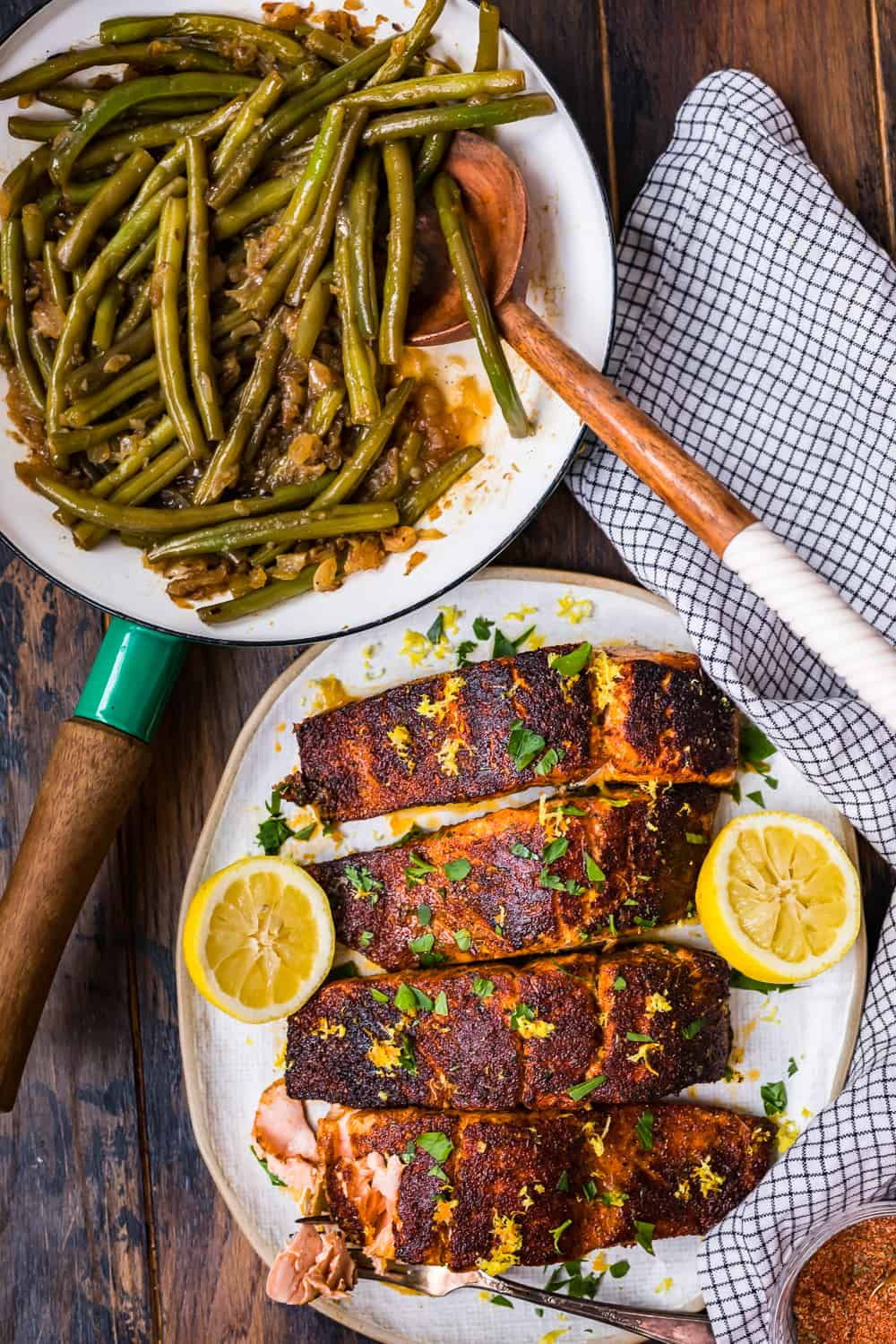 green beans and salmon