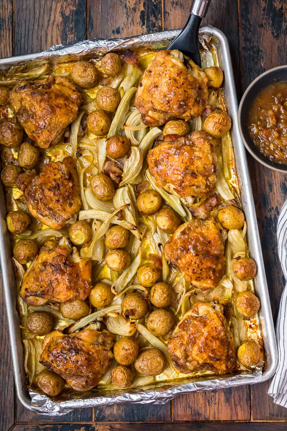 top down shot of roast chicken and potatoes