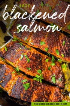 blackened salmon in a skillet picture for pinterest