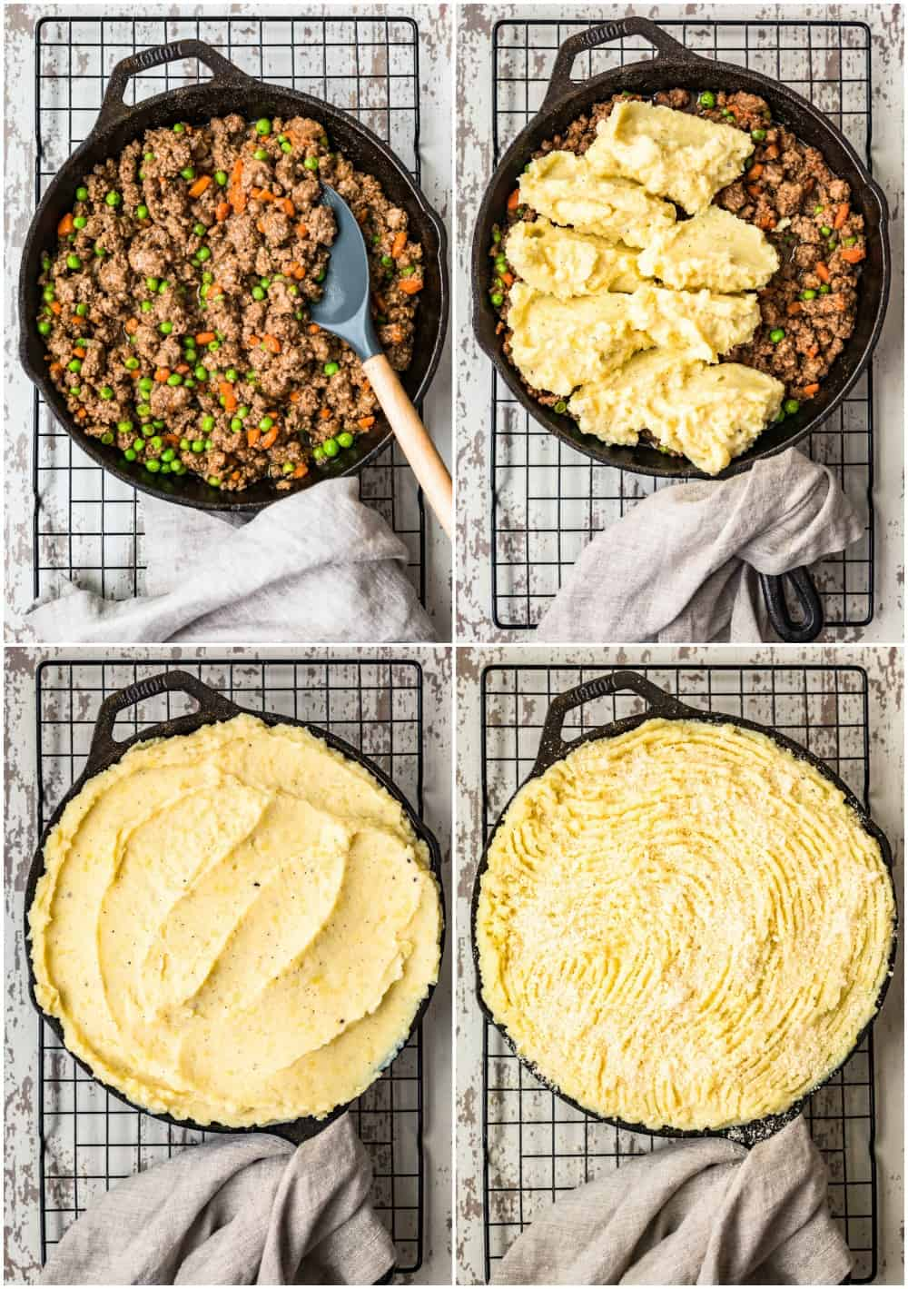 collage of steps for best cottage pie recipe