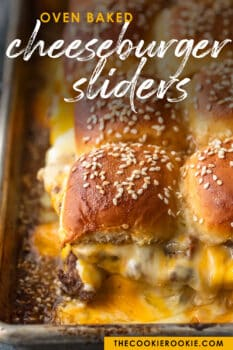 baked cheeseburger sliders in pan - pinterest image