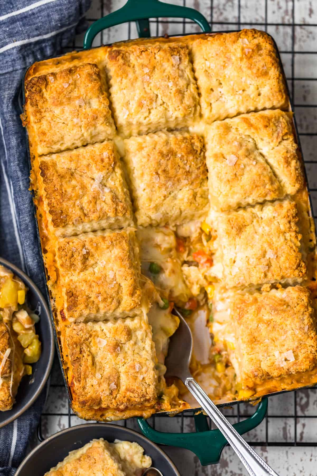 overhead shot of easy chicken pot pie recipe
