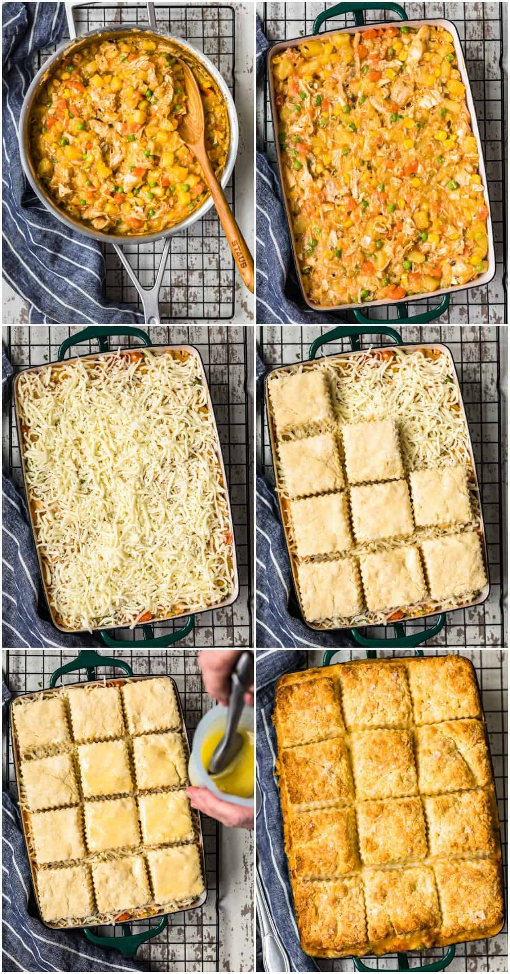 step by step collage of easy chicken pot pie recipe