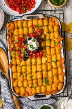 mexican tater tot casserole in a baking dish