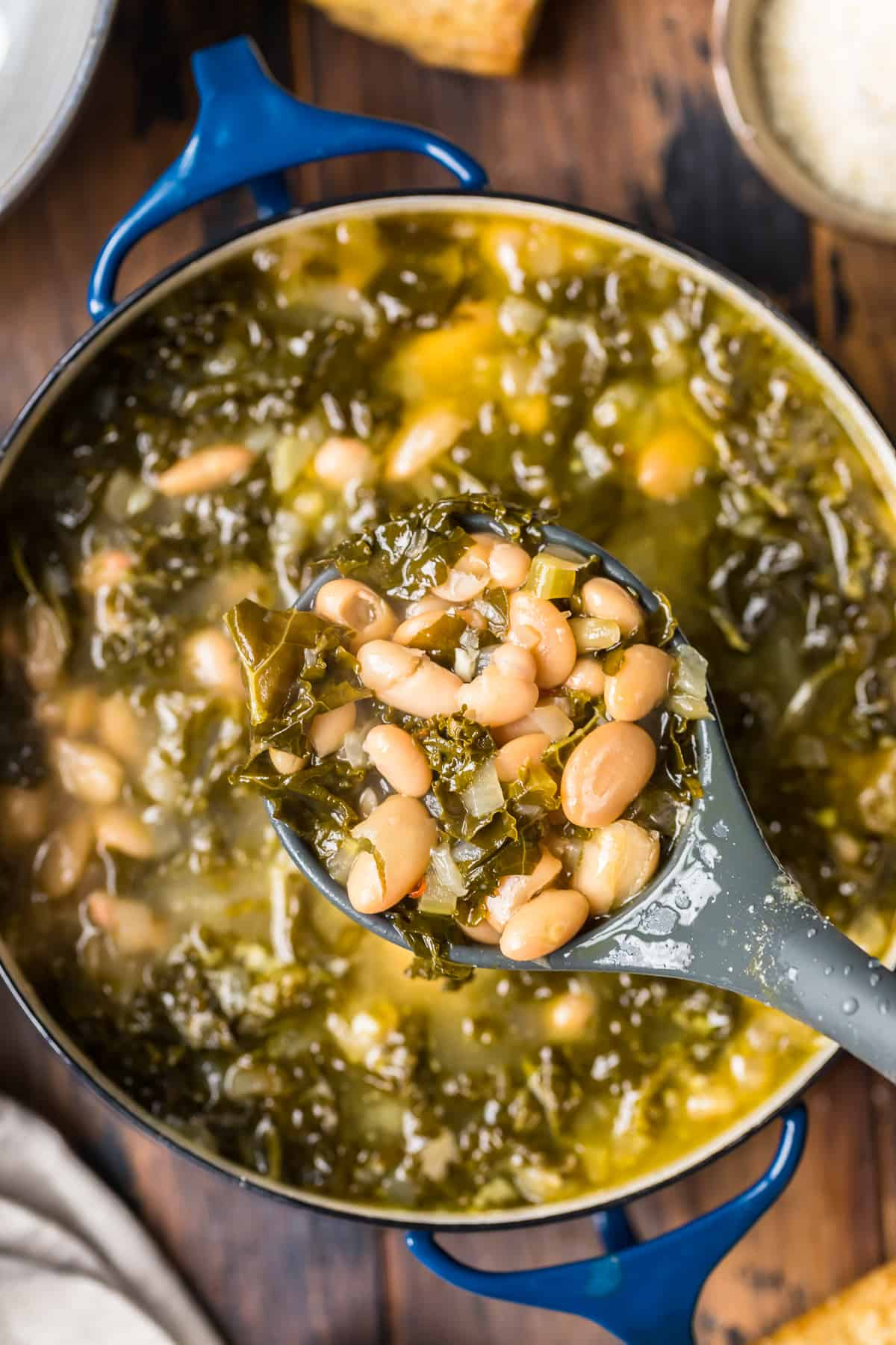 ladle of white bean soup