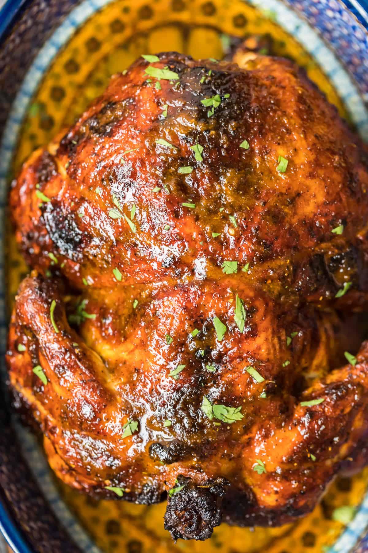 close up of roast peruvian chicken
