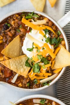 over the top view of easy taco soup in a bowl with chips