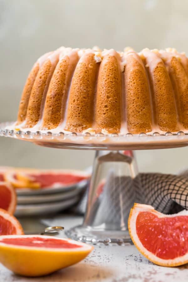 side shot of grapefruit cake