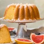 grapefruit bundt cake on a cake stand