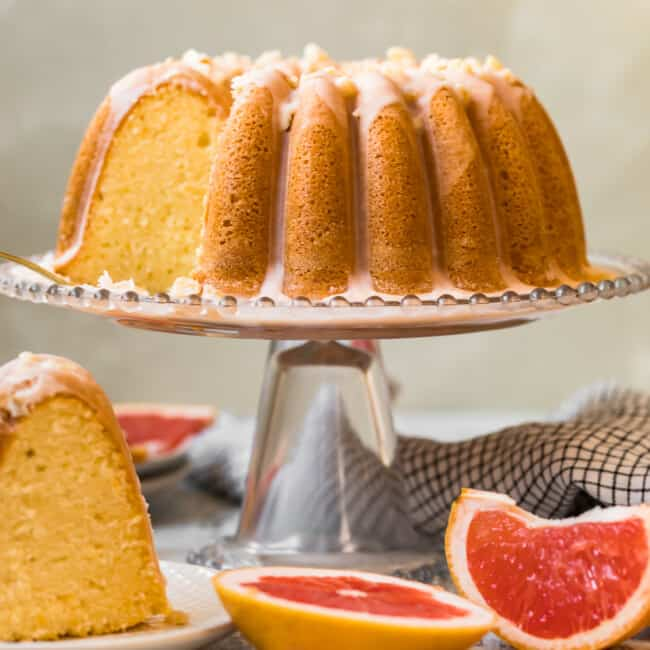 grapefruit bundt cake on a cake stand
