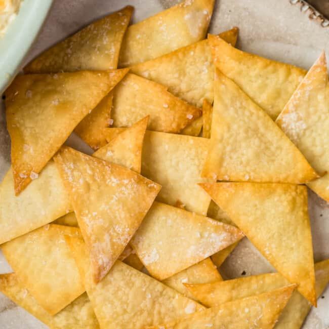 homemade wonton chips on a plate