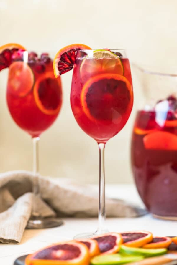 A non alcoholic sangria served in a two glasses