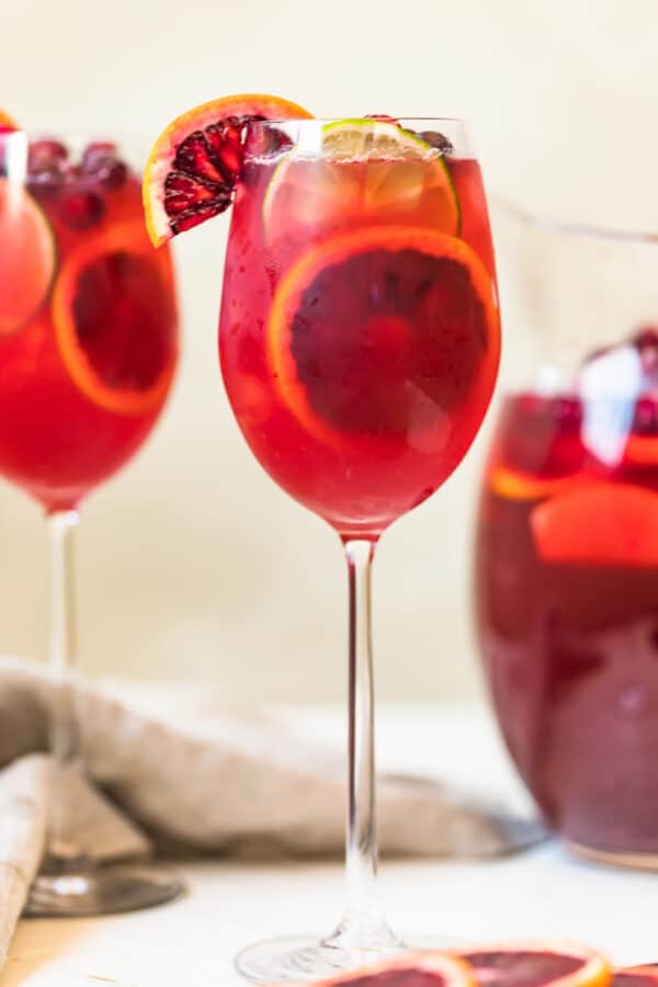 Non alcoholic sangria served n a glass with garnishes