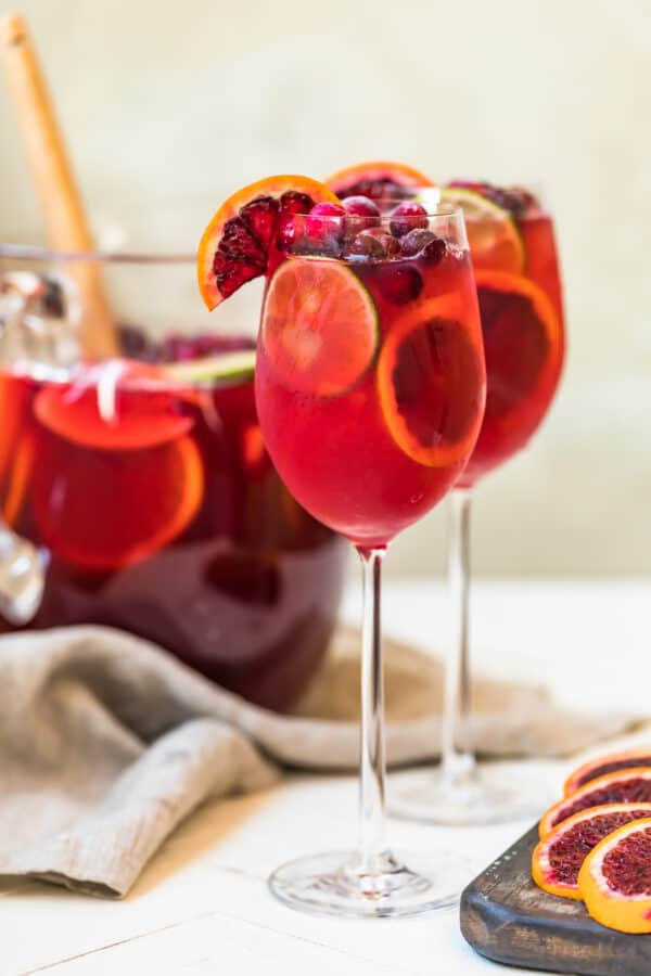 Glasses of the sangria ready to serve