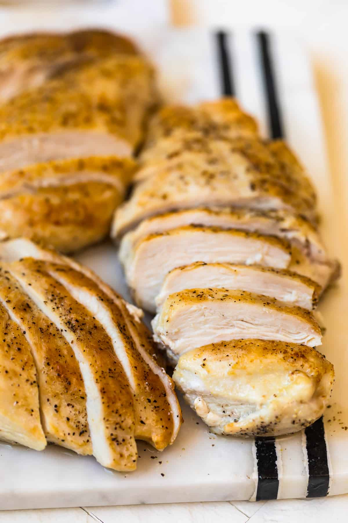 Pan seared chicken breasts sliced