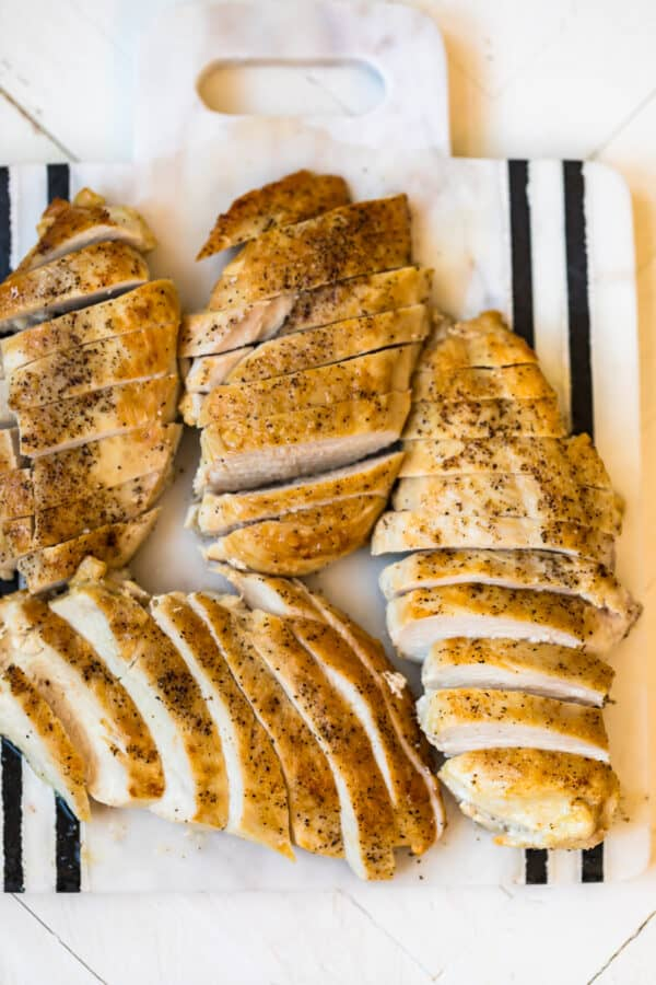 Sliced Pan seared chicken breasts on a plate