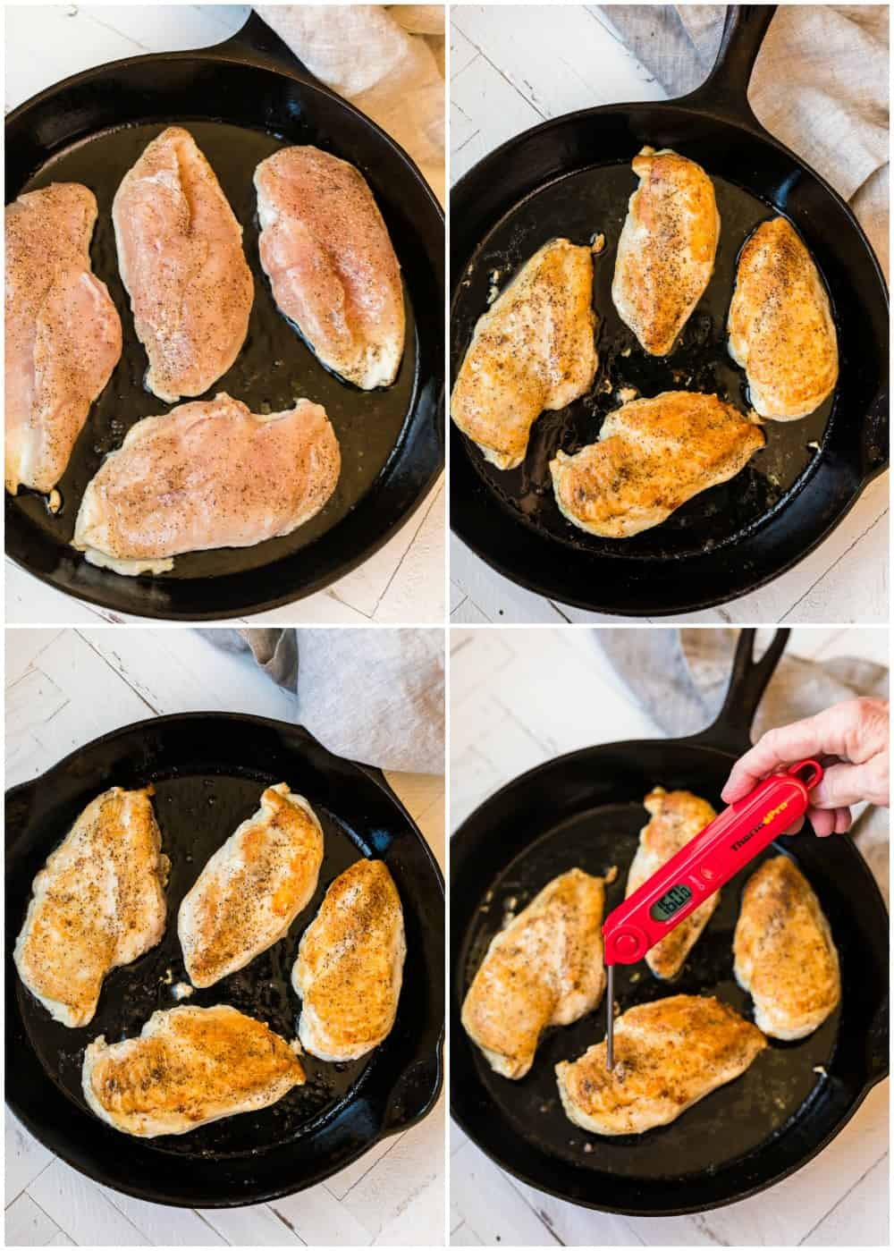 Four photos to show how to sear the chicken