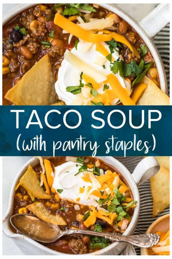 taco soup with pantry staples pinterest pic