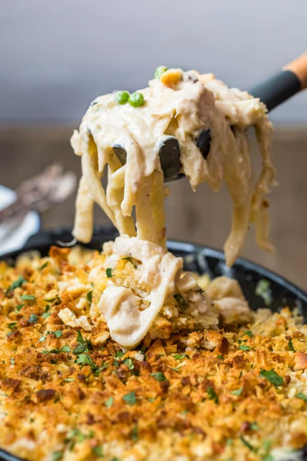 Tuna Noodle Casserole on a spoon to serve