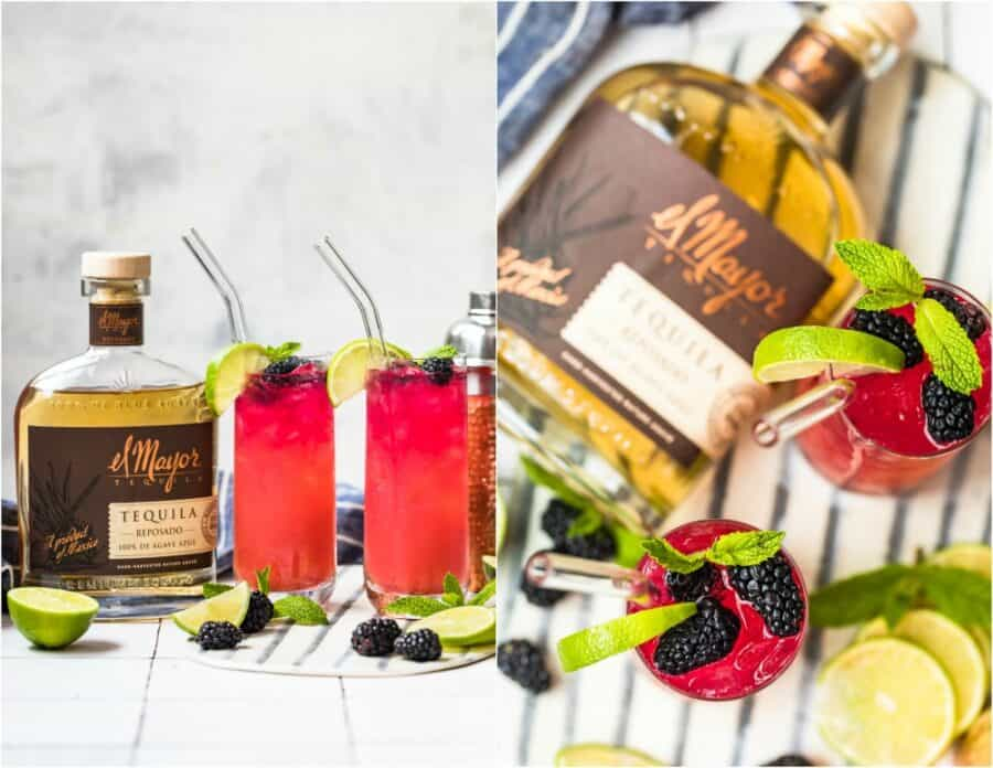 photo collage of palomas with liquor bottle and overhead shot of drinks and liquor bottle