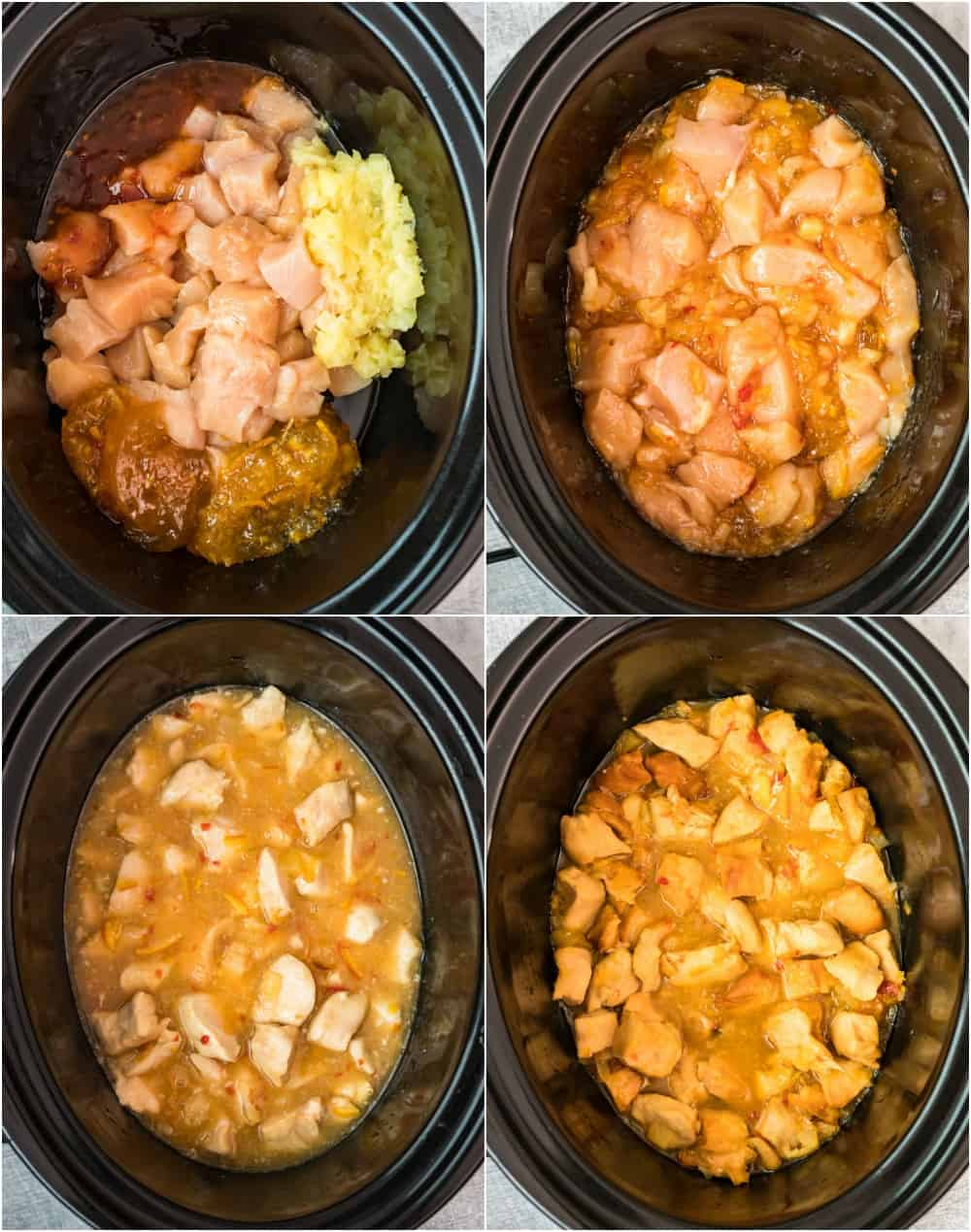 photo collage with the steps of the recipe in the crockpot