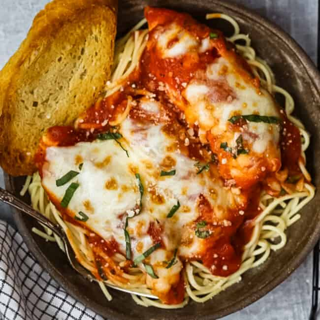 baked chicken parmesan chicken spaghetti featured image