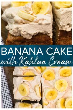 banana cake with kahlua whipped cream pinterest collage