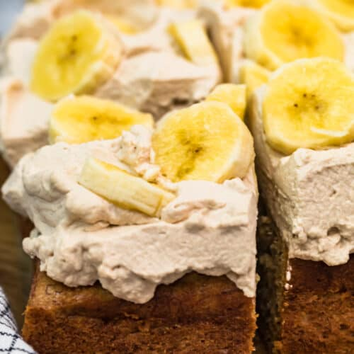 banana cake with kahlua whipped cream and bananas