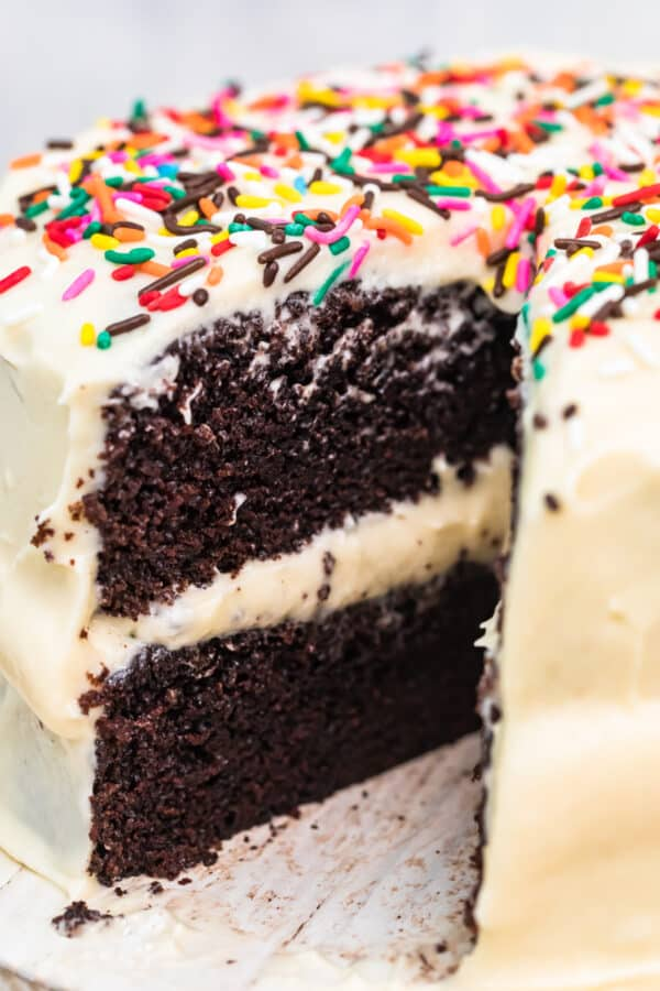 up close image of hershey chocolate cake with white icing