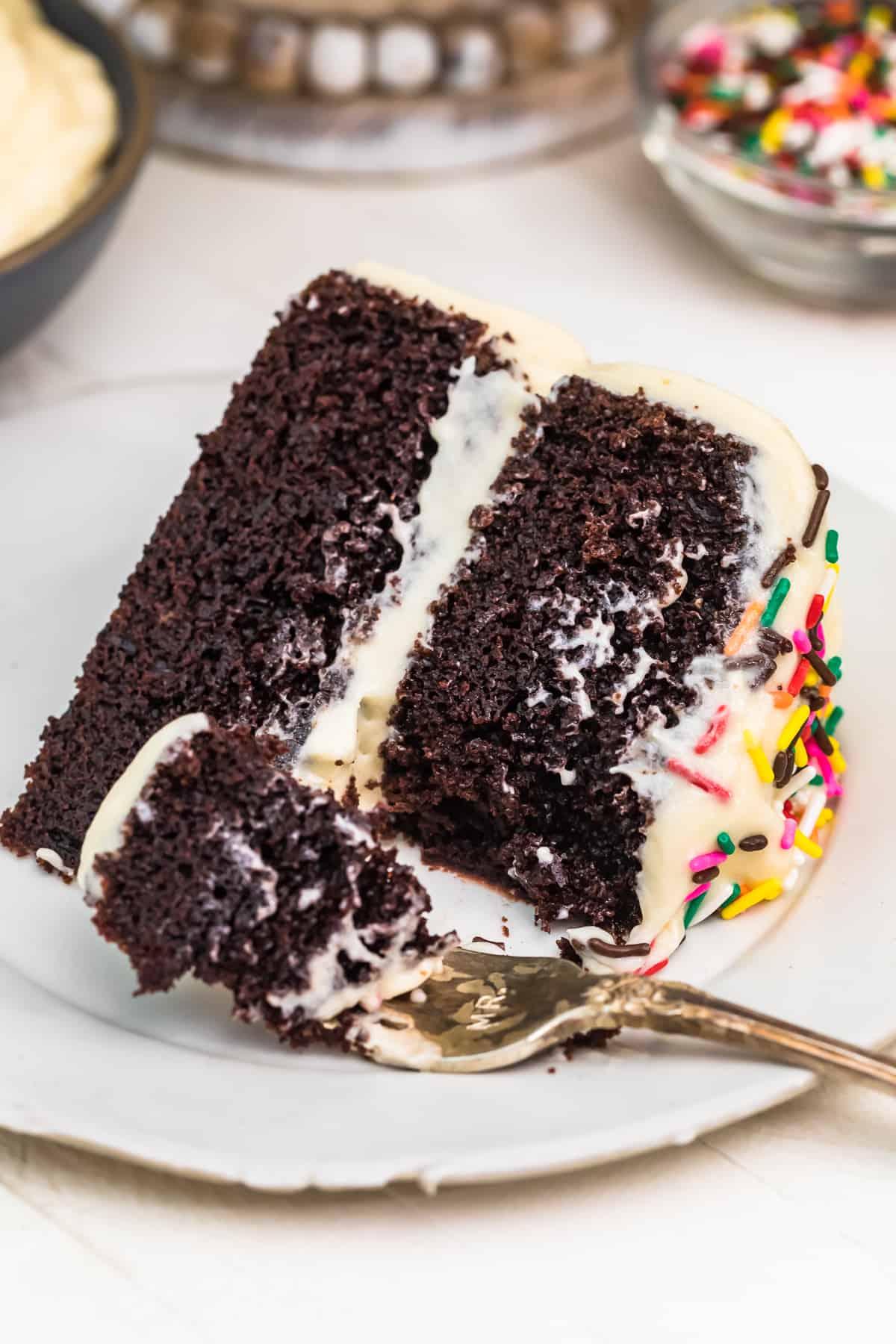 slice of black magic chocolate cake on plate