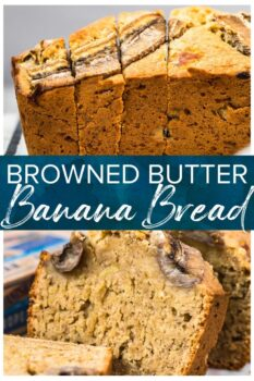 browned butter banana bread pinterest collage