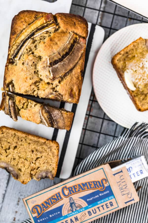 sliced browned butter banana bread made with danish creamery butter