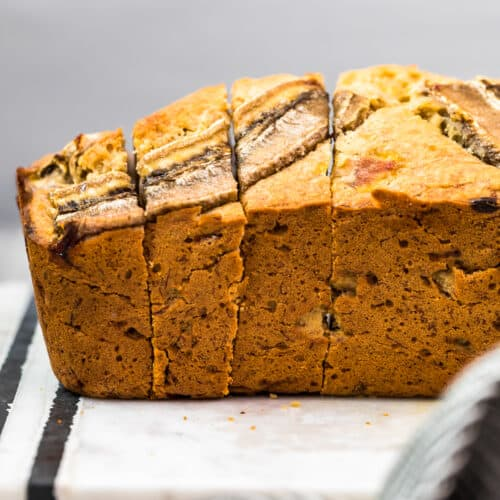side view of sliced browned butter banana bread
