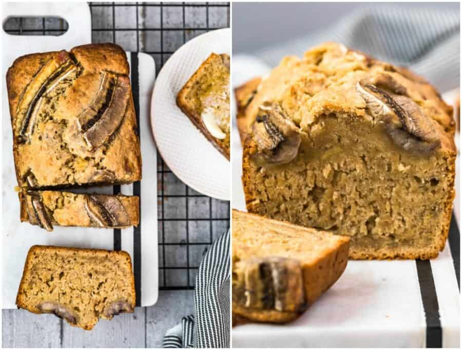 collage of pictures of banana bread