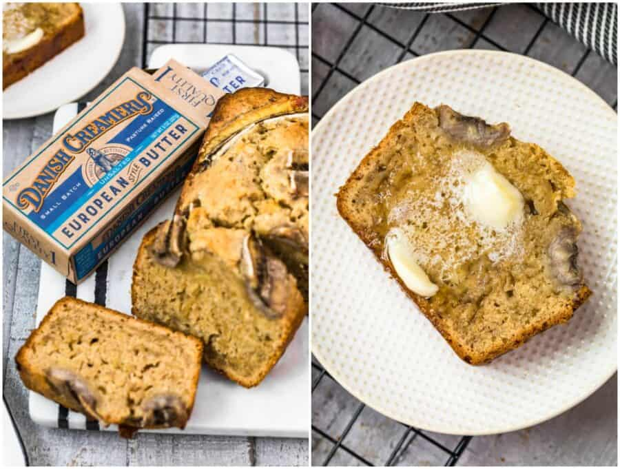 collage of pictures of browned butter banana bread