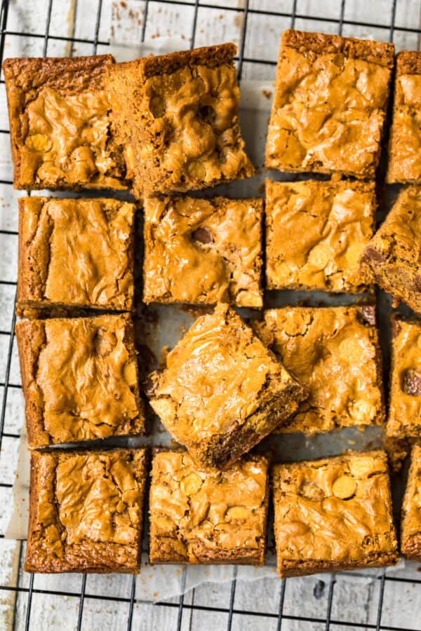 overhead image of sliced blondies with chocolate chips