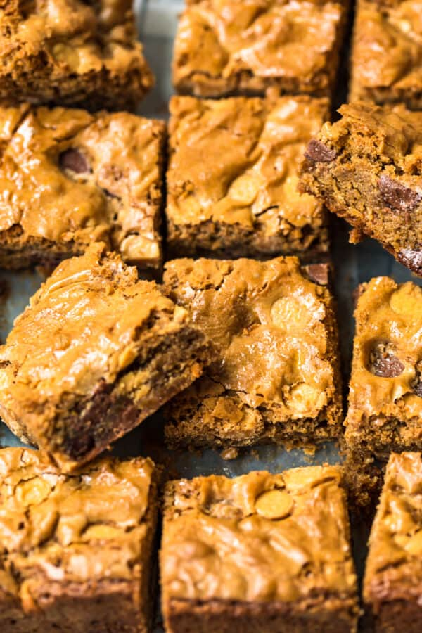 sliced blondies with chocolate chips and peanut butter chips