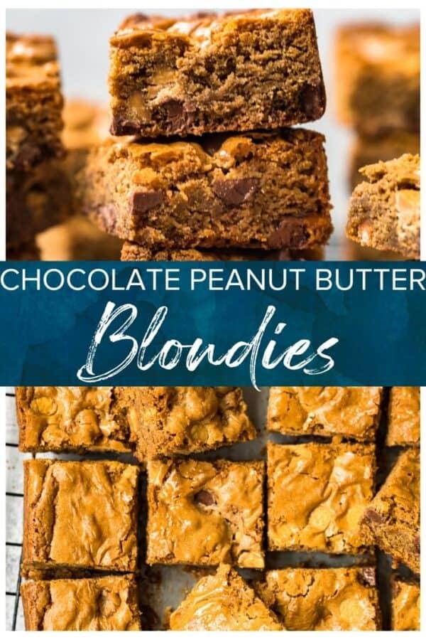 chocolate peanut butter blondies pinterest collage