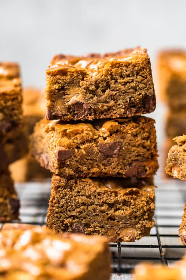 stacked peanut butter chocolate chip blondies